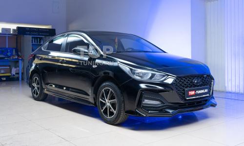 Установка обвеса Stinger GT на черный Hyundai Solaris 2
